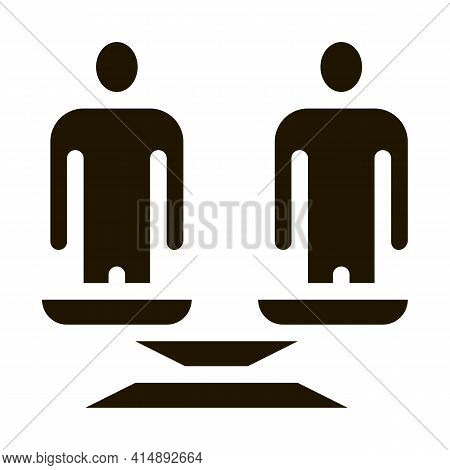 Different Race Human Balance On Scales Glyph Icon Vector. Different Race Human Balance On Scales Sig
