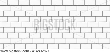 Subway Tile Background. White Brick Seamless Patter For Kitchen Backsplash, Bathroom Wall, Shower. V