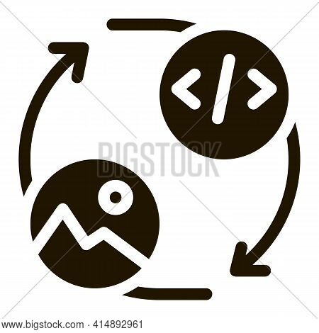 Picture Programming Code Glyph Icon Vector. Picture Programming Code Sign. Isolated Symbol Illustrat
