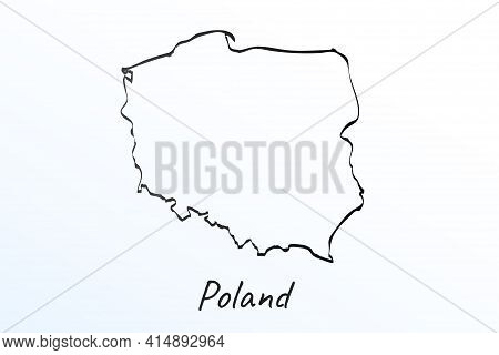 Hand Draw Map Of Poland. Black Line Drawing Sketch. Outline Doodle On White Background. Handwriting