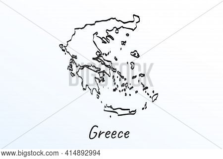 Hand Draw Map Of Greece. Black Line Drawing Sketch. Outline Doodle On White Background. Handwriting