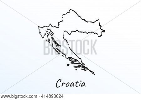 Hand Draw Map Of Croatia. Black Line Drawing Sketch. Outline Doodle On White Background. Handwriting