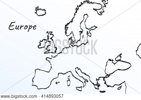 Hand Draw Map Of Europe. Black Line Drawing Sketch. Outline Doodle On White Background. Handwriting