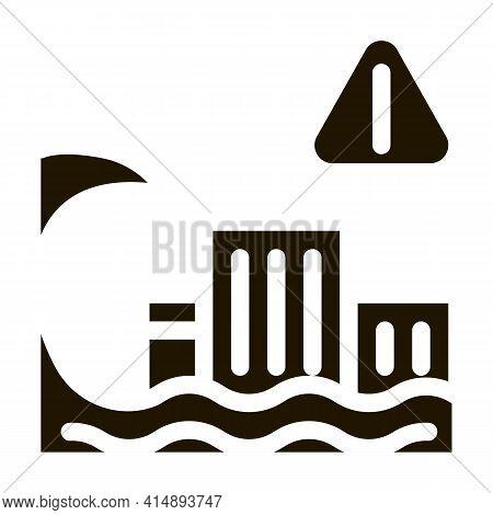 Tsunami Flood City Glyph Icon Vector. Tsunami Flood City Sign. Isolated Symbol Illustration