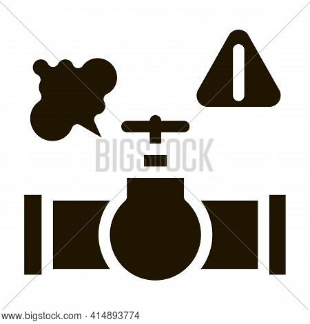 Gas Pipe Break Glyph Icon Vector. Gas Pipe Break Sign. Isolated Symbol Illustration
