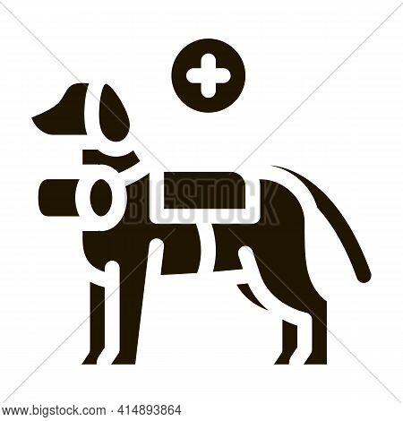 Rescue Dog Glyph Icon Vector. Rescue Dog Sign. Isolated Symbol Illustration