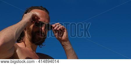 Close Up Portrait Of Mid Adult Man In Sunglasses With Wet Hair On The Beach Seaside Vacation Male Sk