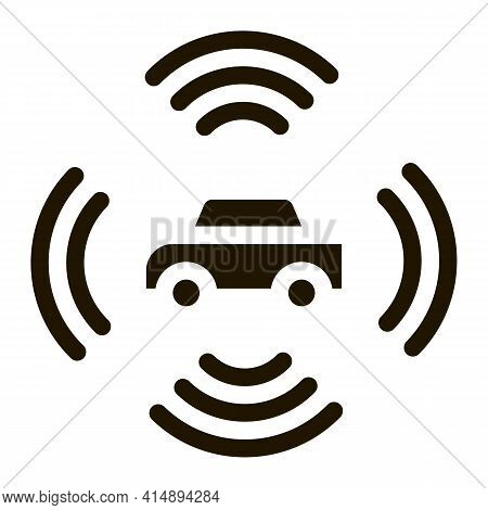 Car Signalization Glyph Icon Vector. Car Signalization Sign. Isolated Symbol Illustration