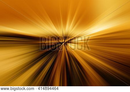 Abstract Surface Of Radial Blur Zoom   In Gold And Brown Tones. Bright Colorful Background With Radi