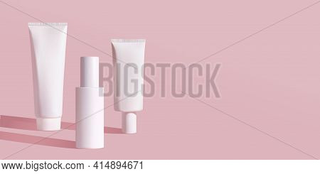 Cosmetic White Bottles Mockup: Tube, Cream, Spray Bottle. Womens Cosmetic Accessory For Skin Care, C
