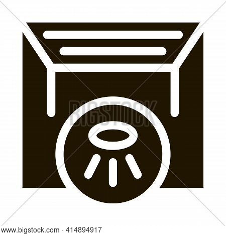 Stretch Ceiling With Lamps Glyph Icon Vector. Stretch Ceiling With Lamps Sign. Isolated Symbol Illus