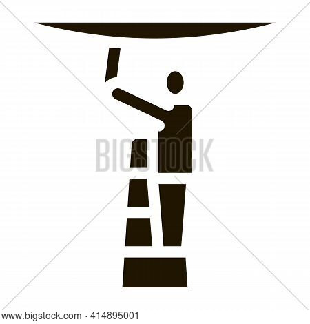 Worker Stretching Ceiling Glyph Icon Vector. Worker Stretching Ceiling Sign. Isolated Symbol Illustr