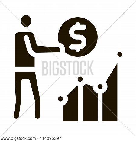 Man Earn Money Infographic Glyph Icon Vector. Man Earn Money Infographic Sign. Isolated Symbol Illus
