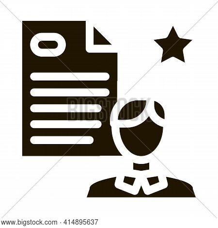 Employee Cv Glyph Icon Vector. Employee Cv Sign. Isolated Symbol Illustration