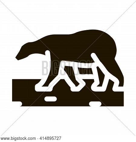 Polar Bear Glyph Icon Vector. Polar Bear Sign. Isolated Symbol Illustration