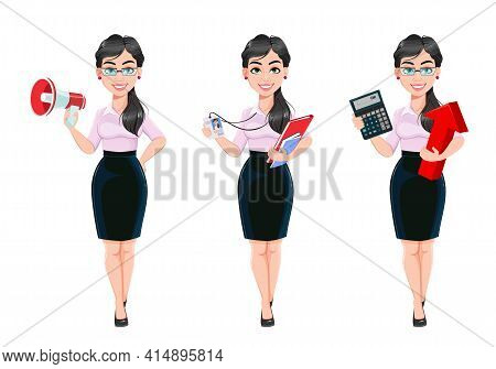 Beautiful Successful Business Woman Cartoon Character, Set Of Three Poses. Usable As Manager, Secret