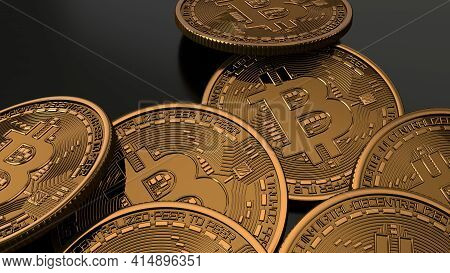 Golden Bitcoin Coin. Cryptocurrency Bitcoin Symbol On Glossy Black Background. Crypto Currency Block