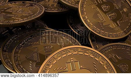 Bitcoins Stacked On Glossy Black Background. Crypto Currency Blockchain. For Background And Commerci