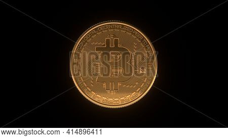 Golden Bitcoin Coin. Crypto Currency Golden Coin Bitcoin Symbol Isolated On Black Background. Digita