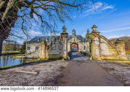 Valkenburg Aan De Geul, South Limburg, Netherlands. February 4th. 2021. Entrance To Schaloen Castle
