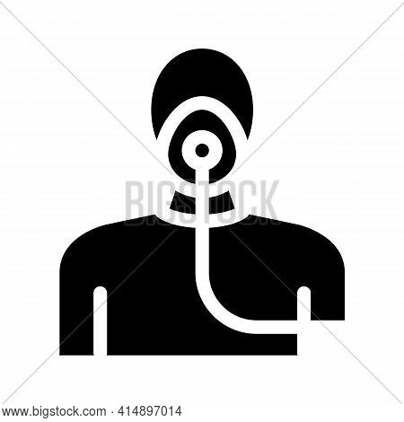 Nebulizer Oxygen Mask For Asthmatic Glyph Icon Vector. Nebulizer Oxygen Mask For Asthmatic Sign. Iso