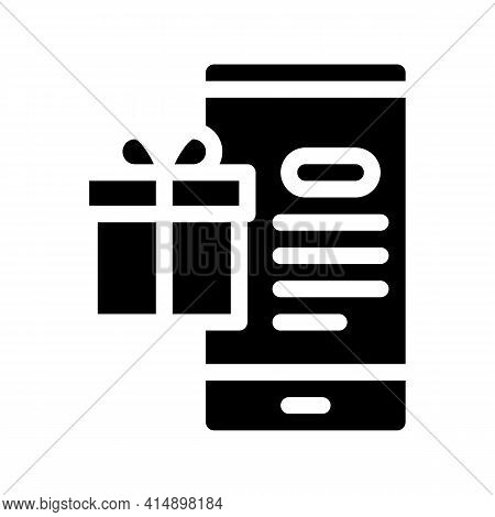Online Shopping Phone Application And Gift For Customer Glyph Icon Vector. Online Shopping Phone App