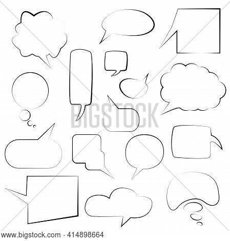 Set Of Speech Bubbles Speech Bubbles. Discussion Bubbles, Drawing Talk Bubble Set, Doodle Chat Ballo