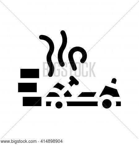 Crash Accident Kart Glyph Icon Vector. Crash Accident Kart Sign. Isolated Symbol Illustration