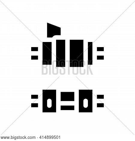 Connected Optical Fiber Glyph Icon Vector. Connected Optical Fiber Sign. Isolated Symbol Illustratio