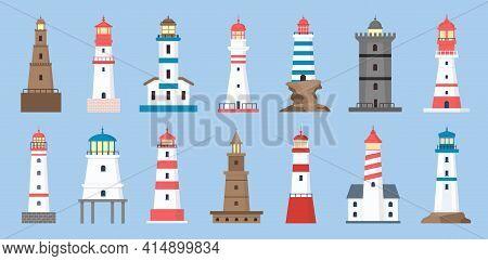 Sea Beacons. Coast Lighthouse With Searchlight Beam. Cartoon Navigation Tower For Sailing Ship. Mari
