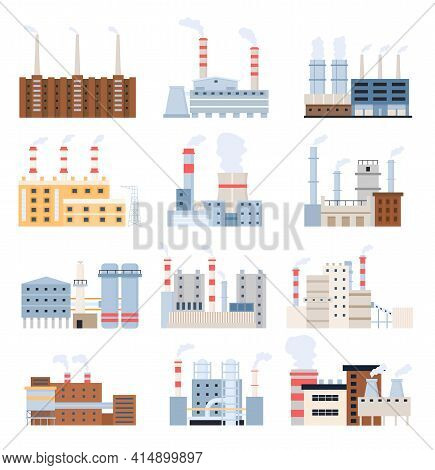 Manufacturing Factory. Industrial Building, Electricity Station, Nuclear Power Plant And Chemical Co