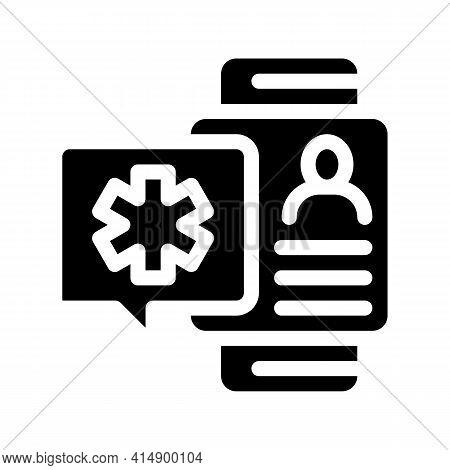Smart Watch Health Diagnostic Glyph Icon Vector. Smart Watch Health Diagnostic Sign. Isolated Symbol