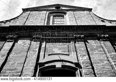 Stone Facade Of Historic Church In Aix-en-provence, France, Monochrome