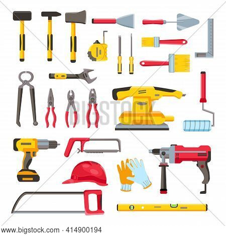 Construction Toolkit. Home Renovation And Repair Tools, Spanner, Trowel, Electric Drill And Screwdri