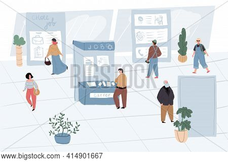 Vector Cartoon Flat Work Characters Employee In Search At Job Fair.people Of Different Professions S