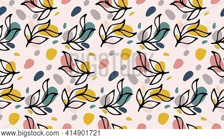 Seamless Pattern With Black Ink Floral Leaves Hand Drawn Doodle And Abstract Colored Round Shapes. C