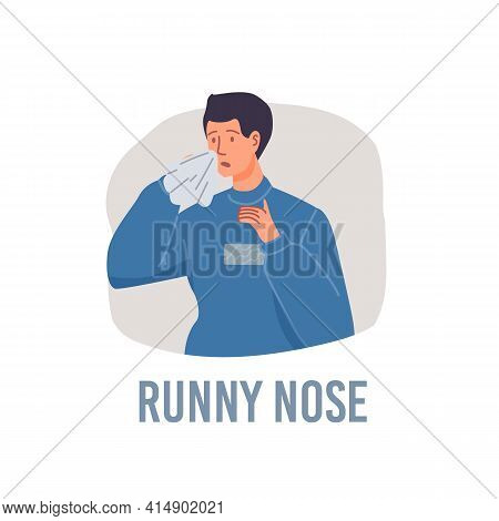 Vector Cartoon Flat Patient Character Ill, Sick Person-runny Nose Disease Treatment And Therapy Medi