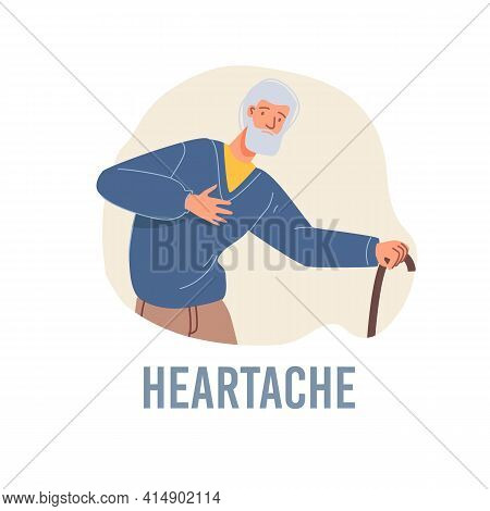 Vector Cartoon Flat Patient Character Ill, Sick Person-heartache Disease Treatment And Therapy Medic