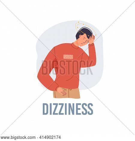 Vector Cartoon Flat Patient Character Ill, Sick Person-dizziness Disease Treatment And Therapy Medic