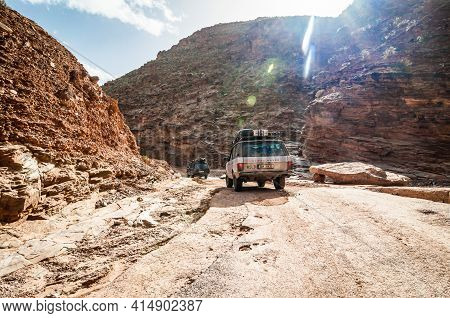 Aouli, Morocco - April 10, 2015. Two Old Range Rover Classics In Valley Of Mines Near Midelt