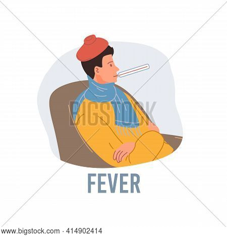 Vector Cartoon Flat Patient Character Ill, Sick Person-fever Disease Treatment And Therapy Medical C