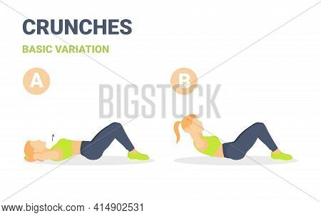 Crunch Female Home Workout Exercise Guide. Colorful Concept Of Girl Working At Home On Her Abs.