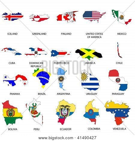 Illustrated Outlines of Countries with Flag inside
