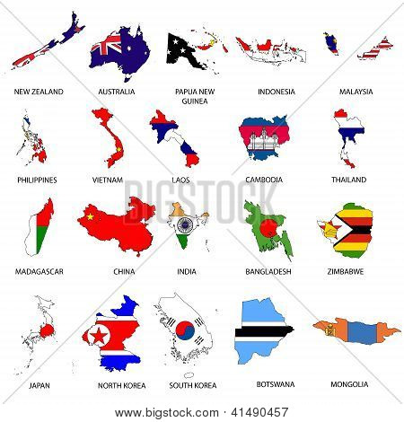 Illustrated Outlines of Countries with Flag inside them poster