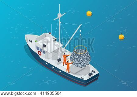 Isometric Shipping Seafood Industry Boat Isolated On White Background. Commercial Ocean Transportati