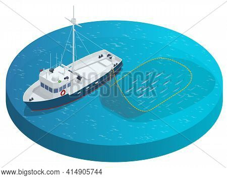 Isometric Shipping Seafood Industry Boat Isolated On White Background. Sea Fishing, Ship Marine Indu