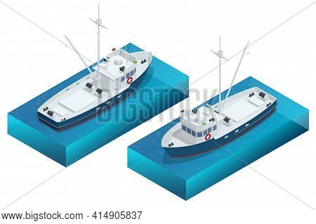 Isometric Shipping Seafood Industry Boat Or Fishing Schooner Isolated On White Background. Sea Fishi