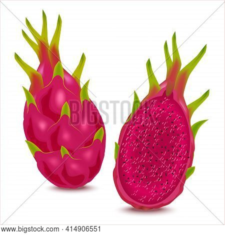 Delicious Tropical Fruits Pitaya For Healthy Lifestyle. Red Dragon Fruit With Red Flesh, Whole Fruit