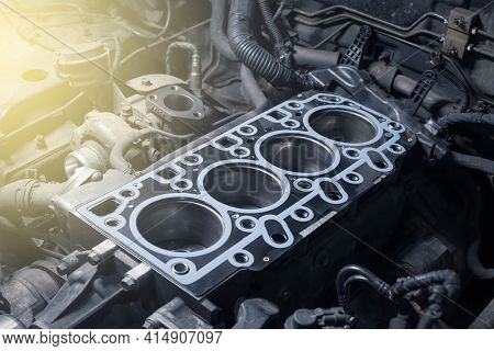 Short Block With Installed Cylinder Head Gasket. Repair Of A Turbocharged Diesel Engine In A Car Wor