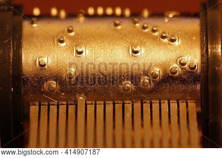 Hand-cranked Music Box Tunes Movements. Retro Cylinder Mechanisms. Close-up
